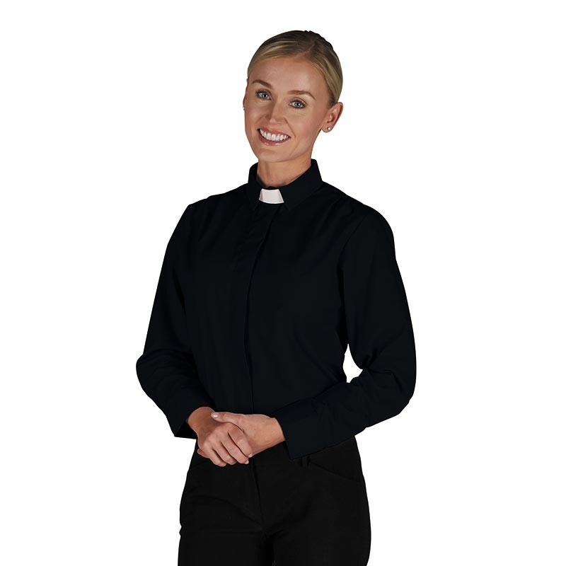 Womens Black Tab Collar Clergy Blouse Long Sleeve