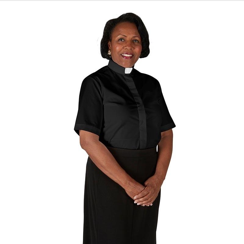 Womens Short Sleeve Tab Collar Clergy Shirt