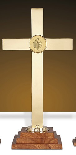 brass wood IHS Altar Cross 24""