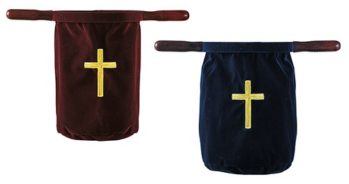 Embroidered Cross Church Offering Bags