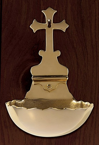Holy Water Font with Cross wall mount