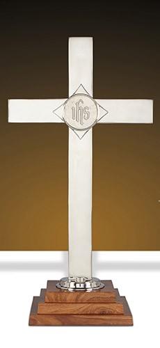 "nickel wood IHS Altar Cross 24"""