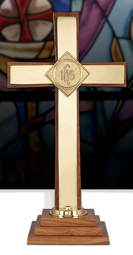 Wood  Brass Inlay Altar Cross