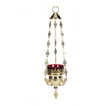 10 Inch Hanging Votive Holder with Ruby Glass