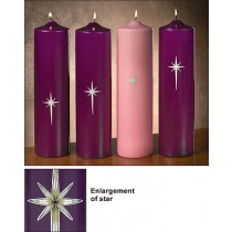 Advent Pillar Candles Star of Bethlehem Pillar Set 4