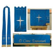 Blue Advent Jacquard Church Parament Set
