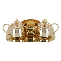 Brass Cruet Set with Tray and Bowl