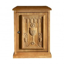 Chalice, Host and Grape Tabernacle - Medium Oak