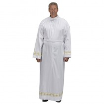 Gold Embroidered Self Fitting Clergy Alb