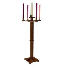 Gothic Church Advent Candlestick Walnut Stain