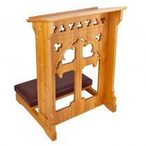 Holy Cross Padded Altar Server Kneeler Oak Stain