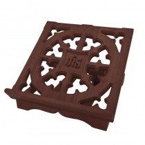 IHS Carved Bible Stand Walnut