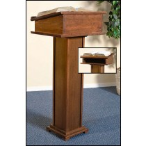 Church Lectern with Shelf Maple Stain