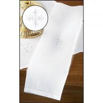 White  Fleur De Lis Cross Linen Lavabo Towel