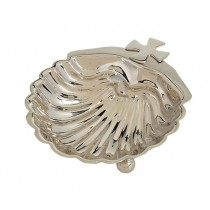 Nickel Plated Baptismal Shell with Cross