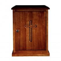 Plain Cross Wood Tabernacle - Walnut