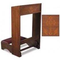 padded church kneeler with silk screened cross