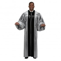 Pulpit Robe - Silver Jacquard with Black Velvet Panels and Gold Crosses