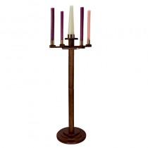 Round Base Church Advent Candlestick Walnut
