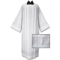 Eyelet Embroidery Box Pleated Clergy Alb