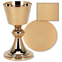 Hand Hammered Finish Chalice and Paten Set