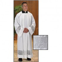 Latin Cross and IHS Lace Box Pleated Clergy Alb
