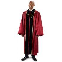 Men's Burgundy Brocade Pulpit Robe with Crosses