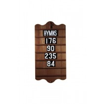 Wall Mount Church Hymn Board - Walnut Stain