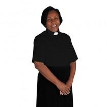 Womens Black Tab Collar Clergy Blouse Short Sleeve