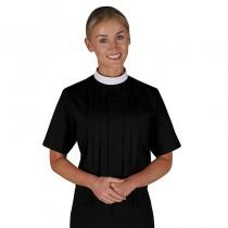 Womens Neckband Clergy Blouse - Short Sleeve Black