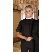 Womens Short Sleeve Neckband Clergy Shirt