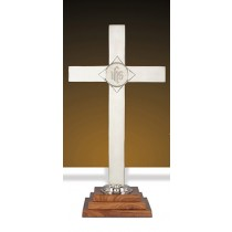 nickel wood IHS Altar Cross 24""