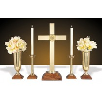 Wood/Brass Altar Set