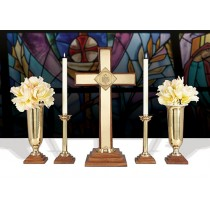 Wood Brass Church Altar Set 24""