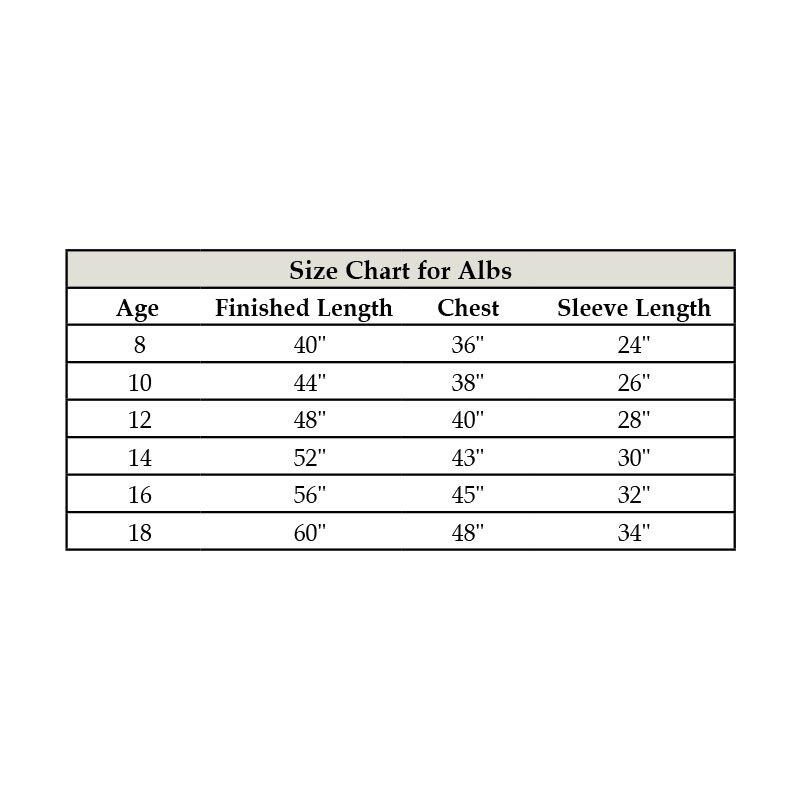 Altar Server Size Chart