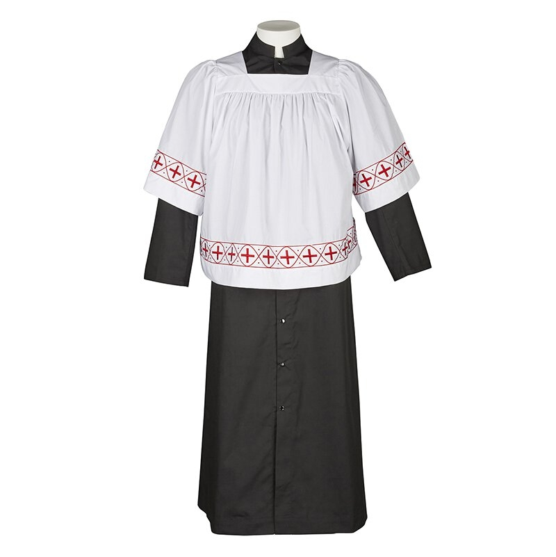 Red Embroidered Crosses Altar Server Surplice
