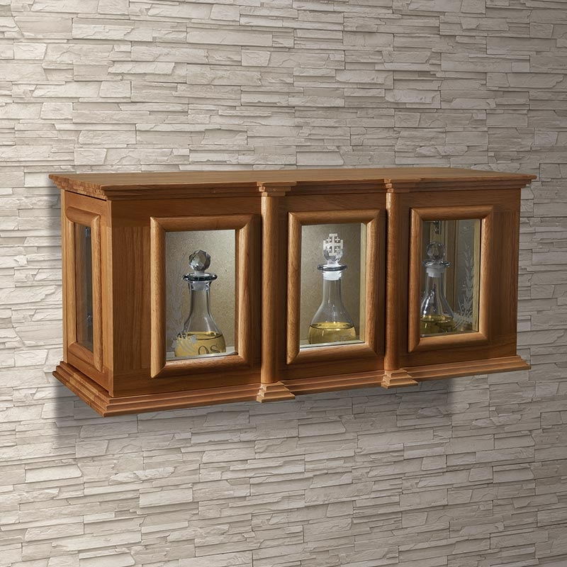 Holy Trinity Ambry Display Cabinet for Chrismal Sets