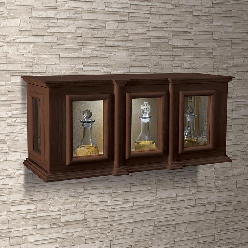Holy Trinity Ambry Display Cabinet for Chrismal Sets Walnut