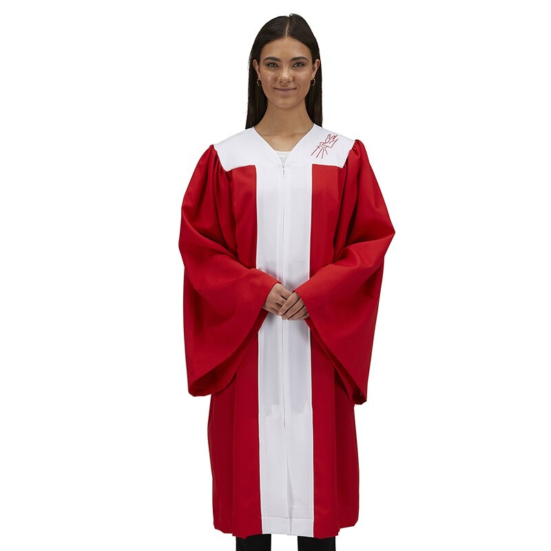 Red Confirmation Robe with Dove