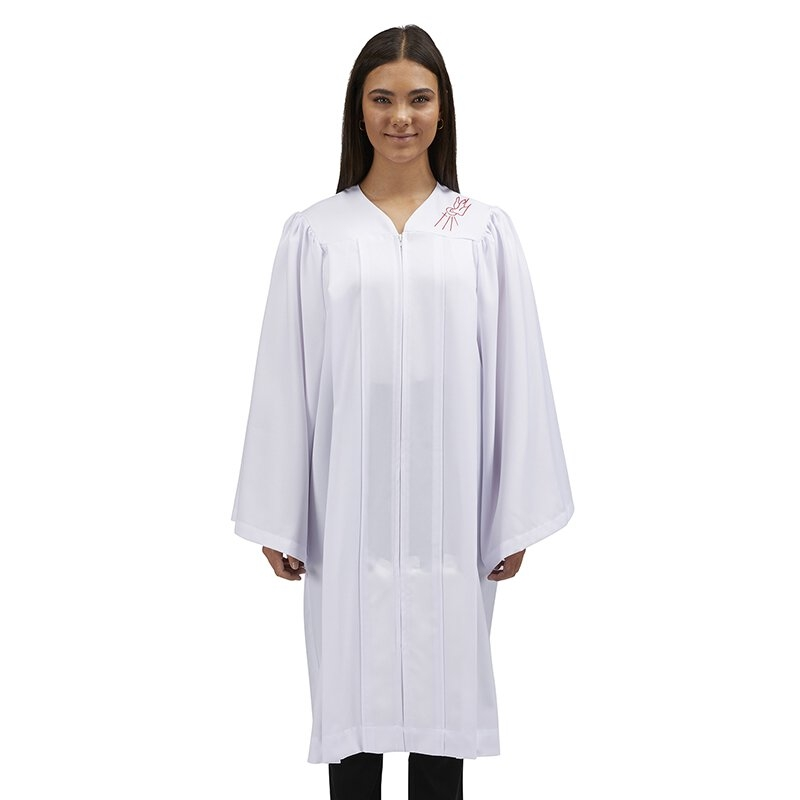 White Confirmation Robe with Dove