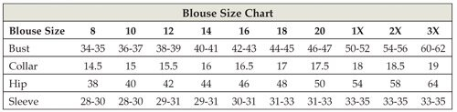 Womens Clergy Blouse Size Chart